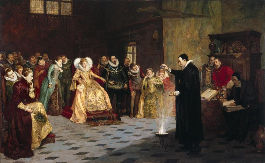 Glindoni John Dee performing an experiment before Queen Elizabeth I, artist Henry Gillard Glindoni
