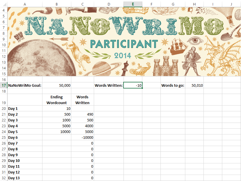 A NaNoWriMo 2014 Calculation Worksheet