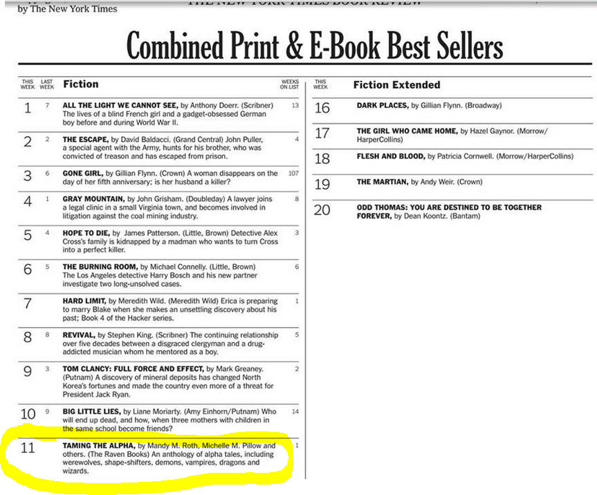 We hit the NYT Bestseller list, too!